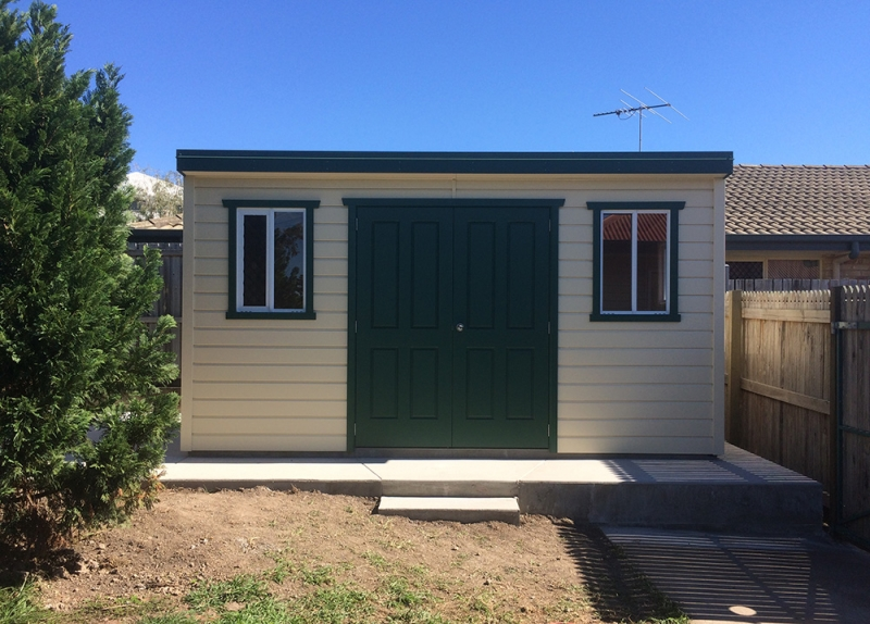 garden shed with windows and double doors - Garden Sheds Brisbane