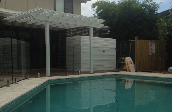 White Pergola With Spotted Gum Decking