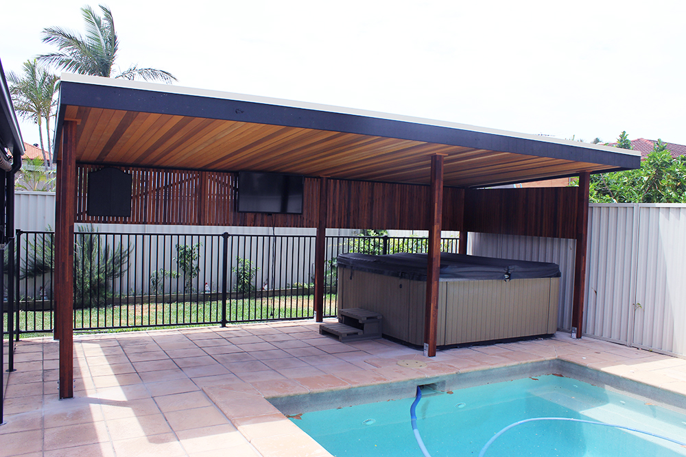 6 Post Timber Pergola Pool Cabana | Kwila Pergola | Cedar Ceiling ...
