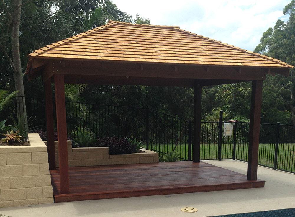 Hardwood gazebo and cedar shingle roof hardwood gazebo for Terrace gazebo