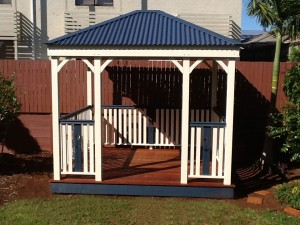 Gazebo with Colorbond Roof and Hand Railing, Gazebo with Handrailing, Gazebo with matching Handrailing, Pine Gazebo with Handrailing