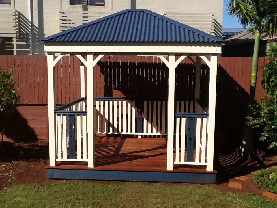 Timber Gazebo With Colorbond Roof And Hand Railing Pine