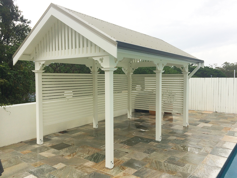 Timber White Cabana With Gable Roof Pine Cabana