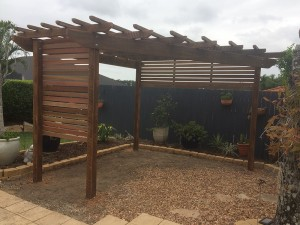 Distressed Hardwood Pergola, Trapazoid Pergola, Pergola with Screening