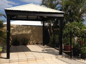 Pine Gazebo, Pine Gazebo Painted Black, Pine Gazebo with Black Posts and Rafters, Black Pine Gazebo Brisbane