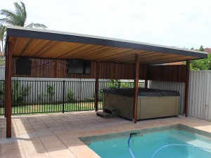 6 Post Cabana, Pool Cabana with Spa, Dart Board and TV, Pool Cabana with TV, Pool Cabana with Privacy Screening, Pool Cabana Brisbane, Pool Cabana with Cedar Ceiling, Pool Cabana with Lighting, Pool Cabana with Electricity