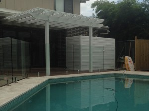 White Pergola with Decking, Attached Pine Pergola with Decking, Pergola With Decking, Pergola with Decking in Brisbane