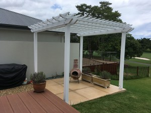 Pine Pergola in White, Timber Pergola, White Pine Pergola, Painted Pergola, White Pergola, Pergola on Golf Course, The Glades Golf Course