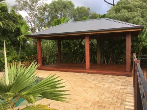 Hardwood Gazebo, Hardwood Cabana, Gazebo with Overhang Roof, Cabana with Overhang, Gazebo with Deck, Cabana with Kwila Deck, Gazebo with Kwila Deck, Gazebo with Large Posts, Cabana with Large Posts, Pine and Hardwood Gazebo Brisbane