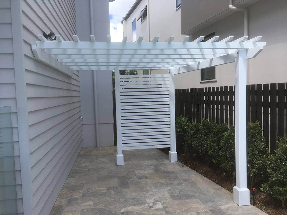 Paint And Primer >> 3 Post Attached Pine Pergola | Painted Timber Pergola ...
